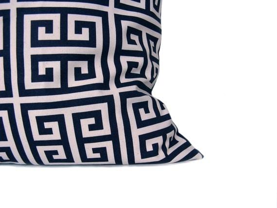 Decorative Throw Pillow Greek Key Pillow Lumbar pillow cover navy pillow Housewares, Cushion cover Accent Pillow Home Decor Dark Blue Pillow