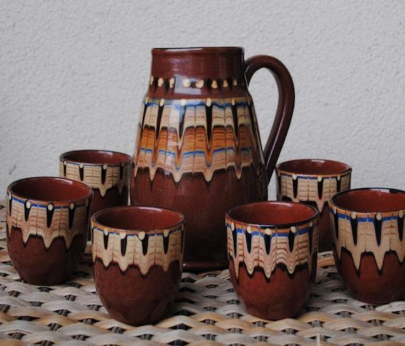 SALE NOW 30% OFF Vintage Glazed Ceramic Pitcher and Mug Set 1970s