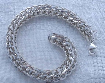 Full persian chainmaille bracelet, silver filled