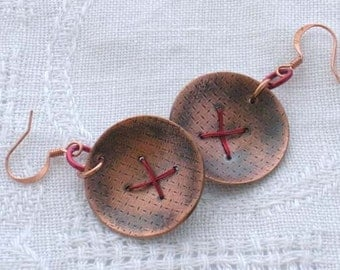 Copper and red handforged earrings
