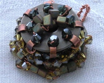 Beaded Sewing Bobbin and Copper Pendant
