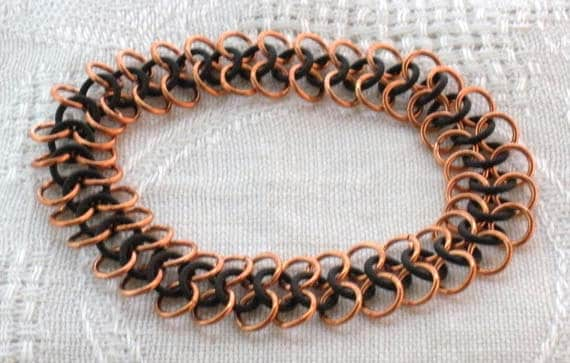 Copper and Black Rubber Chainmaille Bracelet