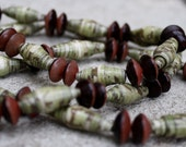 Chunky earthy green paper and wooden disc bead necklace
