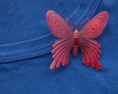Red Butterfly Brooch Pin
