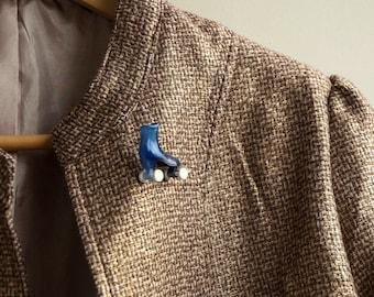 Roller skate brooch Blue Plastic Pin