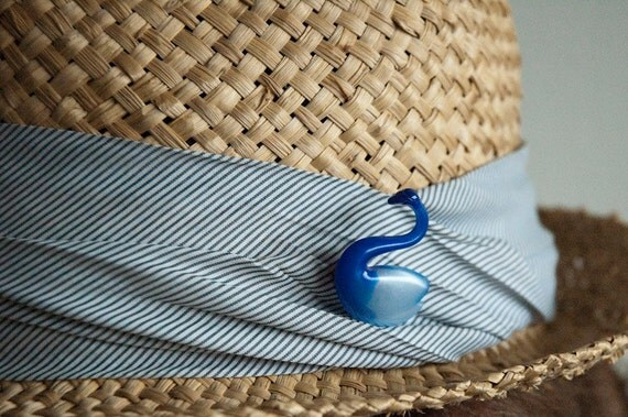 Swan Brooch Blue Plastic Pin