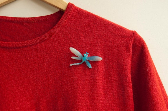 Dragonfly Brooch Blue Vintage Pin