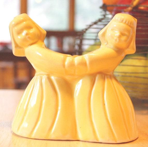 Vintage 1940s Pottery Planter Flower Pot Yellow Dutch Girls American Art Pottery Ceramic Shawnee McCoy Vase