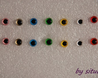 6mm (5mm) 7-colors Color Eyes Safety Eyes for Amigurumi - 1 pair for each color