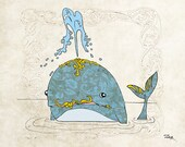 """Art Deco Blue Whale - Animal portrait, decorative drawing of a whale with luxury jewels - Art Print 12"""" x 16"""" (A3) by SunshineBar"""
