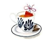 Valentine's Day Kitchen Watercolor Illustration Print Heart Ribbon Hungarian Folk Pattern