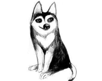 Siberian Husky Dog Black White Pencil Drawing Illustration Print Home Decor