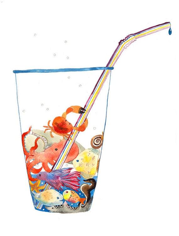 Earth Animals Environment Eco Water Ocean Watercolor Illustration Print Multicolored