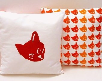 Red Cat Cushion - hand pulled screen print