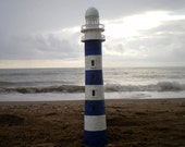 Handmade Lighthouse Lamp LED OOAK paper mache