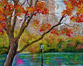"""New York. Central Park. Autumn. Painting on Giclee Canvas 16""""x20"""" with mat frame. By the Artist"""