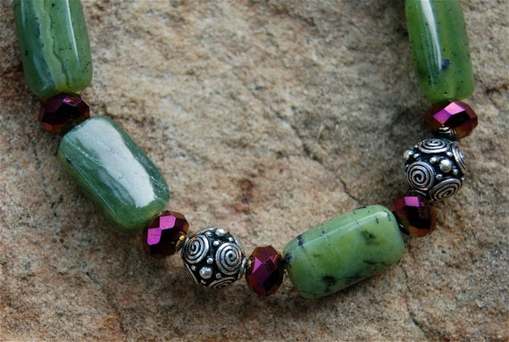 Jade and Burgundy Crystal Bracelet