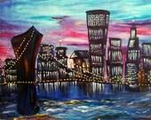 Large Oil painting-  City Night Lights  70x50cm