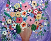FLOWER Painting- LARGE and ColorfuL ORIGINAL Oil Painting Modern 60x60cm by LoungeArt