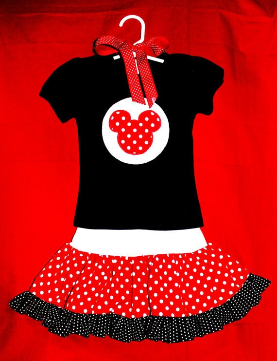 Minnie or Mickey Mouse Twirly Skirt and Appliqued Short SleeveTop Shirt 2-Piece Outfit --- Sizes 12 Months to 4T