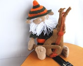 stuffed fairy doll, crocheted gnome, musician amigurumi goblin with instrument, tiny bearded man, OOAK, orange, brown, darkolivegreen