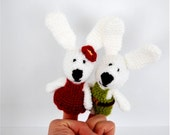 bunny finger puppets, crocheted pair of amigurumi rabbit, gift for easter, small stuffed animal puppet, beige, white red green
