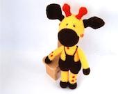 stuffed giraffe, plushie woodland safari animal, crocheted amigurumi toy for children, softie and cuddly gift, yellow, brown, orange