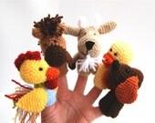 stocking stuffer farm animal finger puppet set, crocheted dog, horse, duck, goat, cock
