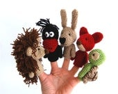 finger puppets, birthday party, crocheted animals, tiny woodland, stocking stuffer, Christmas gift, homeschooling play, creative toys