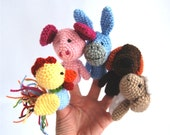 5 animal finger puppet, crocheted cock, pig, donkey, dog and sheep, domestic pet animals, rainbow multicolour, for kids