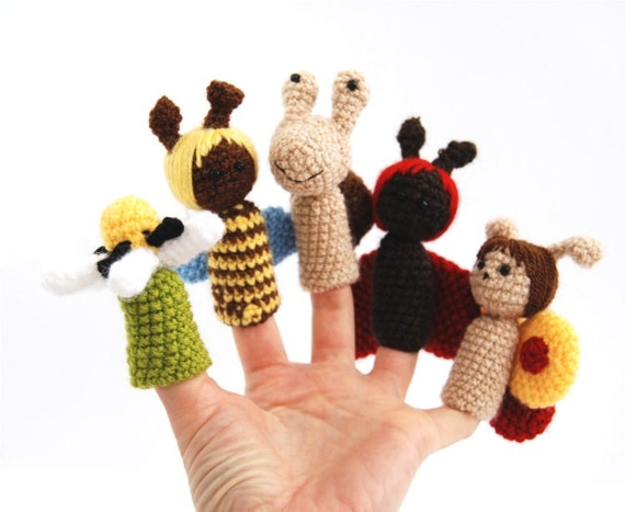 5 finger puppet, crocheted ladybird, snail, honey-bee, butterfly, flower, amigurumi winged toys, set, collection, multicoloured spring