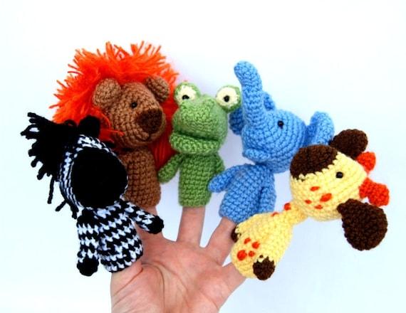 5 finger puppet, crocheted lion, giraffe, elephant, zebra, crocodile amigurumi safari toys, play fables, orange yellow brown