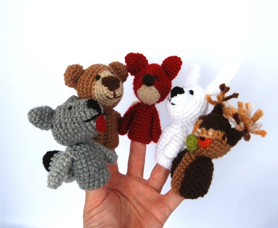 5 animal finger puppet set, crocheted owl, bunny or rabbit, bear, wolf and fox, stuffed woodland forest animal, multicolour