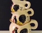 Vintage Rooster Measuring Cups