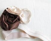Brown and Tan (Champagne) elastic hairband, headband or clip