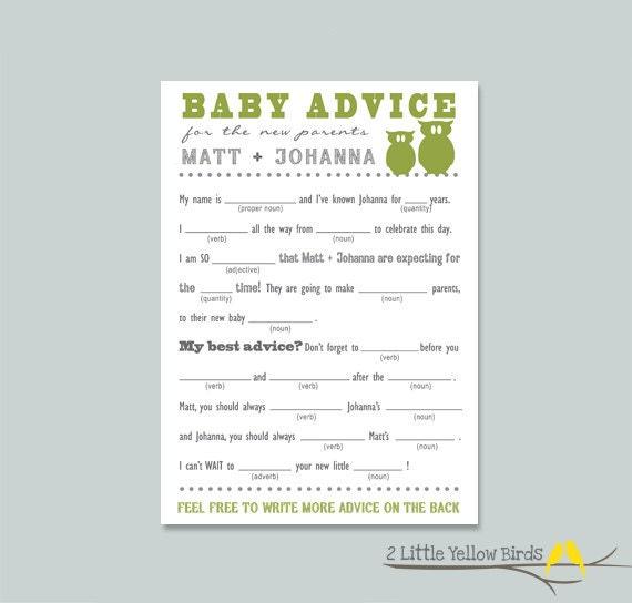 baby shower advice card mad libs little owls