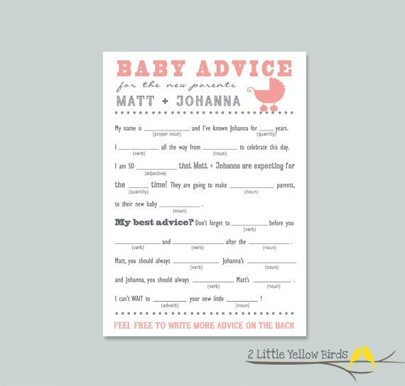 Baby Shower Advice Card Mad Libs Little Buggy