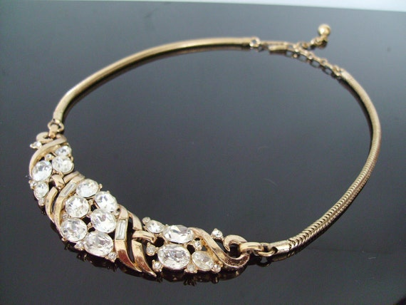 Vintage Trifari Rhinestone Goldtone Necklace