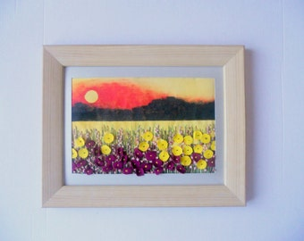 textile art wall hanging embroidered picture  fabric painting