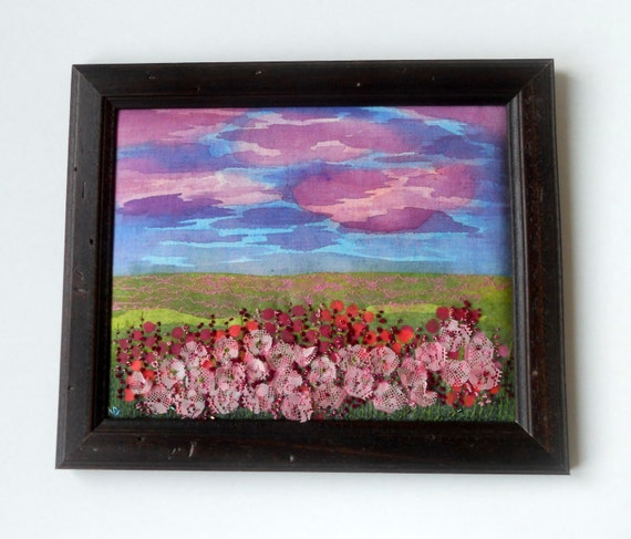 "Embroidered picture , "" Pink  Flowers ""   reserved  for Laurie"