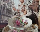Antique Rose China Teacup and Saucer Set - AACO