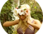 White and Pink Romantic Flower Crown