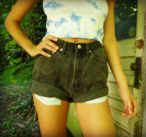 Size 26 Vintage High Waisted Black GAP Cutoff Jeans / Denim Shorts