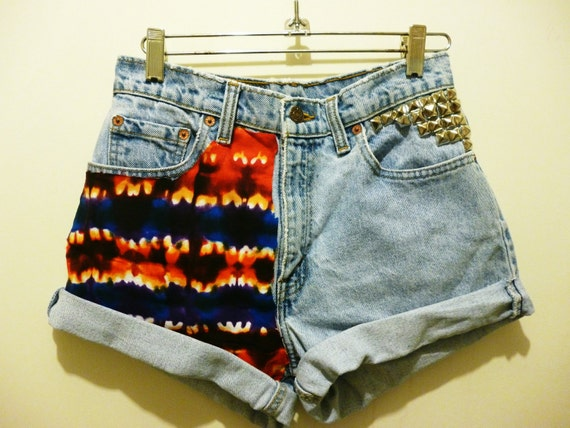 Vintage High Waisted Tie Dye and Studded Jean shorts