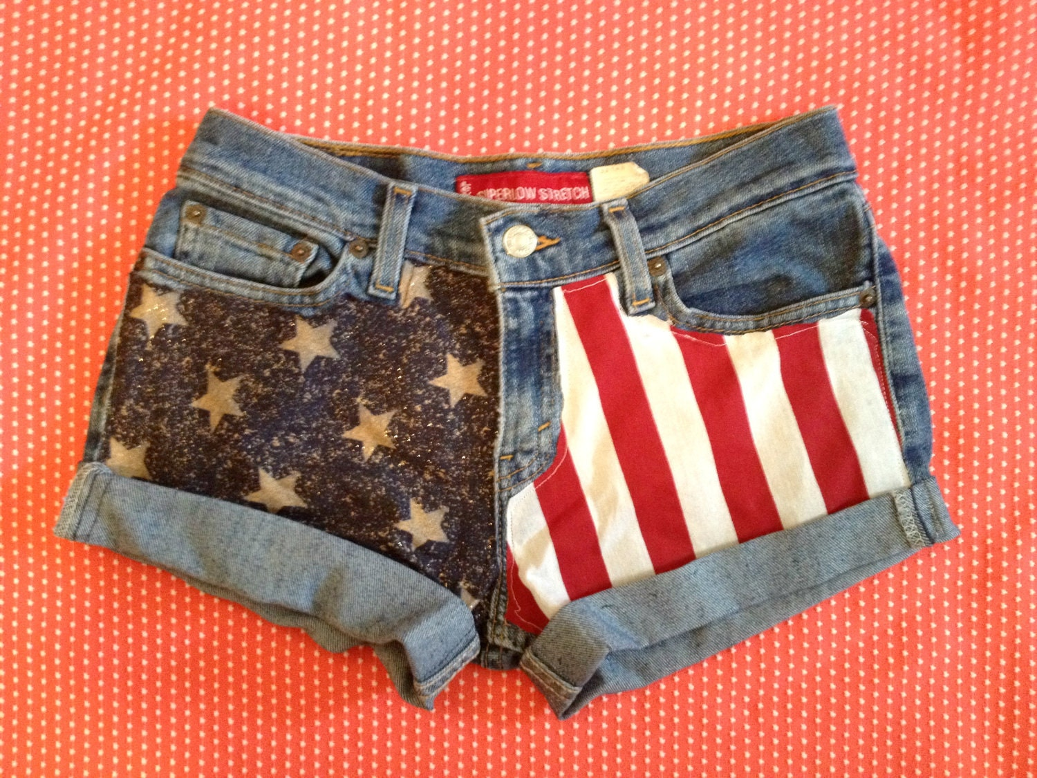 Low Rise American Flag Jean shorts