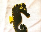 Black Seahorse Ornament