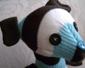 Quentin the Glove Dog - Aqua and Chocolate Striped Stuffed Puppy Doll