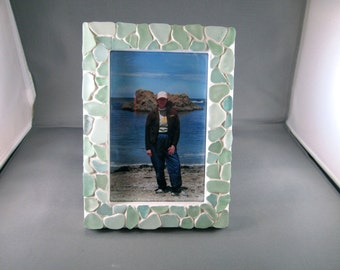 Genuine Sea Glass Sea Foam Picture Frames beach glass Handmade handcrafted mosaic 4 X 6 photo