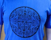 Mandala Celtic T Shirt. Dog Dragon Eagle Design. Hemp Screen Printed Sustainable Men
