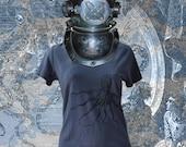 Kraken T Shirt. Octopus Giant Squid. Bamboo Organic Cotton.  Women Girl Sizes S M L Grey